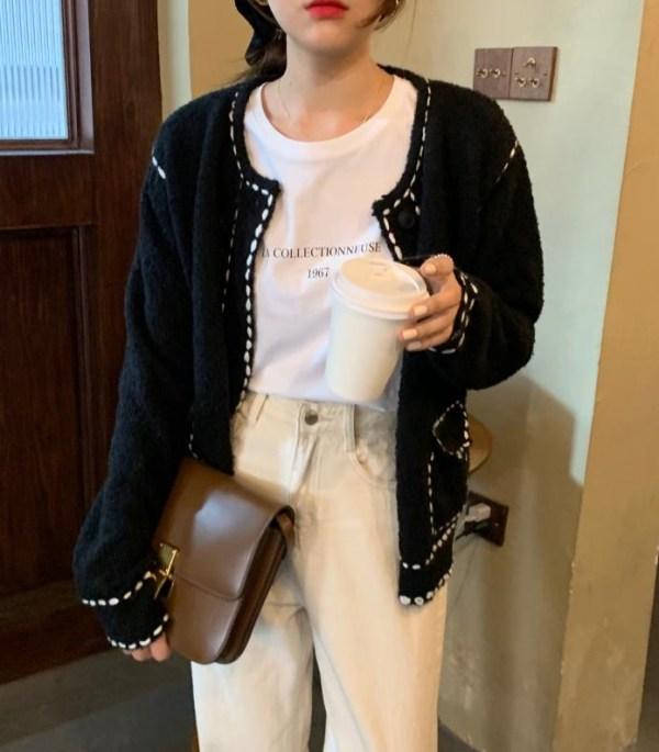 Black Cardigan With White Stitching | Seulgi – Red Velvet