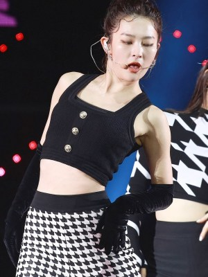 Black Sleevess Cropped Top | Seulgi – Red Velvet