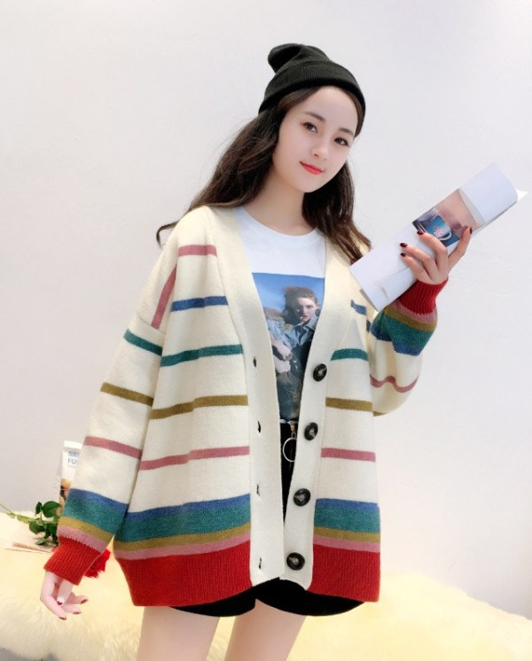 Knitted Cardigan With Multicolored Stripe Pattern | Changbin – Stray Kids