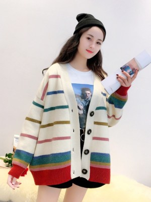 Changbin – Stray Kids Knitted Cardigan With Multicolored Stripe Pattern (6)