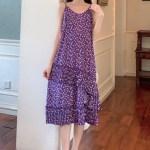 Lilac Ruffled Hemline Sling Dress | Hyuna