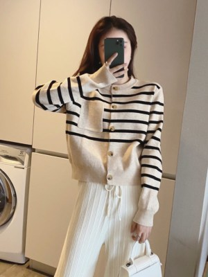 Joy Pocketed Stripe Patterned Cardigan (12)