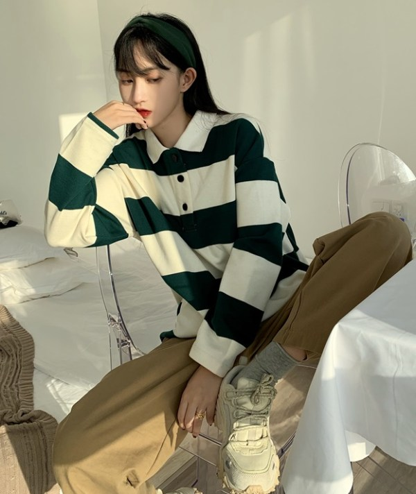 Green And White Long Sleeve Polo Shirt | Lim Joo Kyung – True Beauty