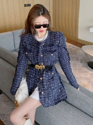 Shuhua – (G)I-DLE Blue Tweed Fringe Jacket (6)