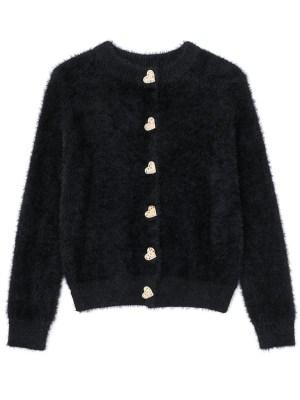 Chaeryeong – ITZY Black Heart Buttoned Plush Cardigan (9)