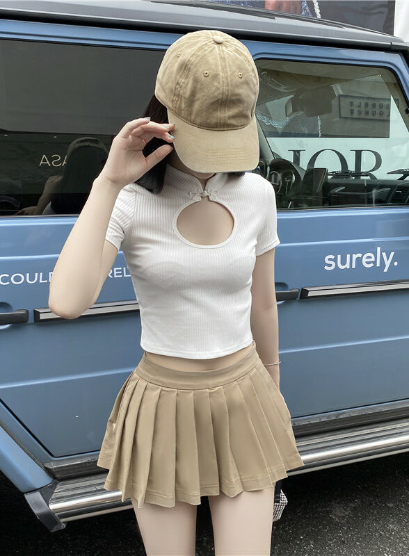 Pleated Khaki Mini Skirt | Hyuna