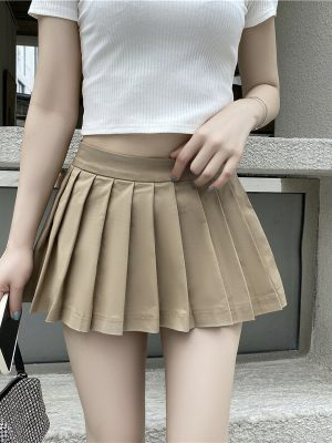 Hyuna – Pleated Khaki Mini Skirt (13)