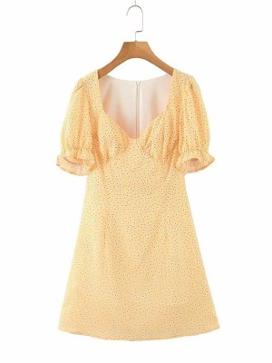 Hyuna – Yellow Puff Sleeve Mini Dress (8)