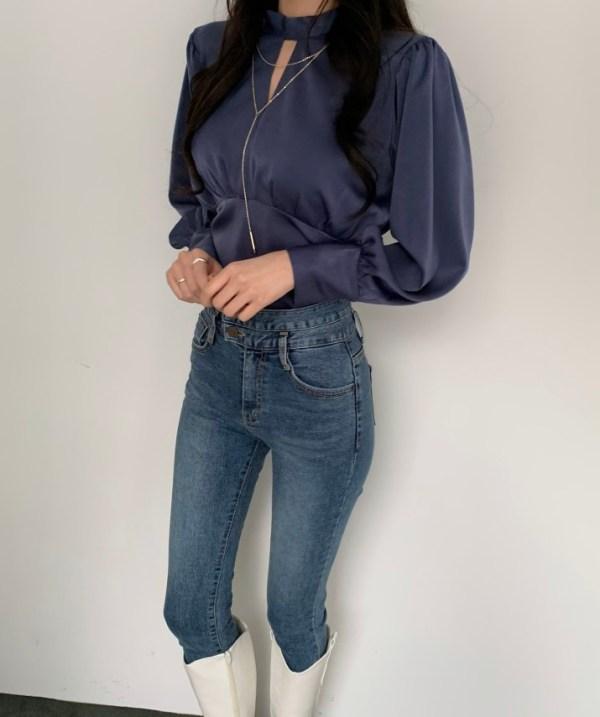 Navy Blue Open-Back Silk Blouse | Jennie – BlackPink