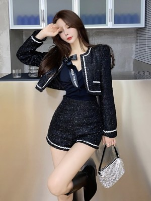 Jennie – BlackPink Sparkling Black Tweed Jacket (13)