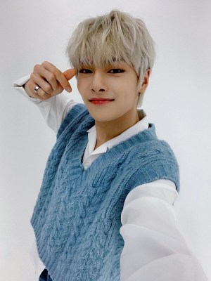 Blue V-Neck Knitted Vest | Jeongin – Stray Kids