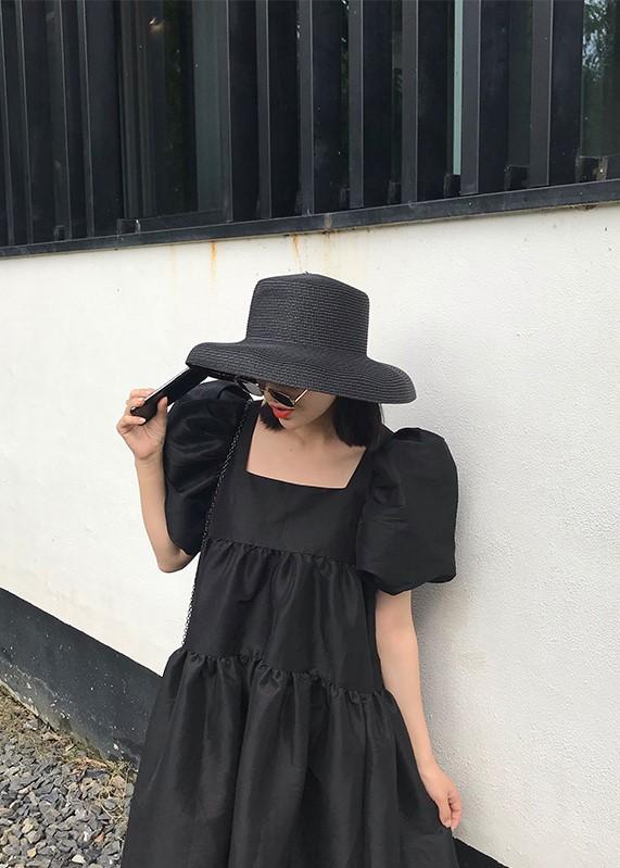 Black Puff-Sleeved Layered Dress | Jeongyeon – Twice