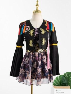 Jisoo – BlackPink Black Embroidered Coat With Tassels (38)