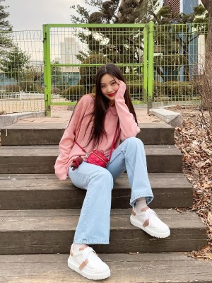 Pink Oversized Sweater With Collar | Joy – Red Velvet