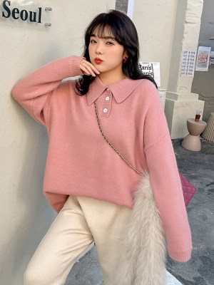 Joy – Red Velvet Pink Oversized Sweater With Collar (6)