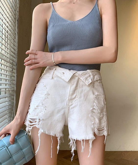 White Distressed Denim Shorts | Lisa – Blackpink