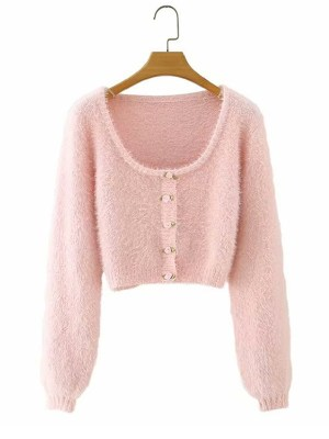 Miyeon – (G)I-DLE Pink Rose Button Mohair Cardigan (14)