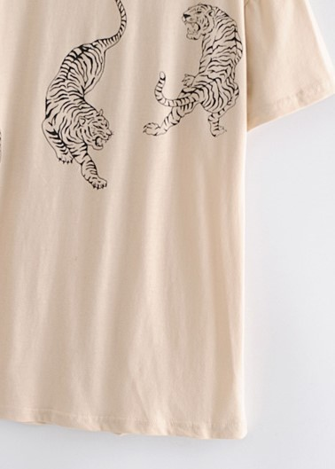 Tiger Print Beige T-shirt | Solar – Mamamoo