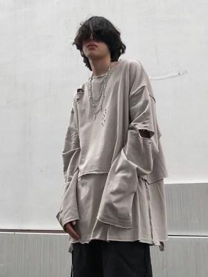 Suga – BTS Grey Distressed Double Layered T-Shirt (14)