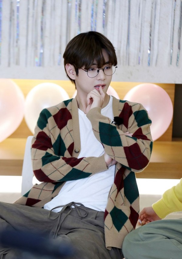 Khaki Diamond Patterned Cardigan | Taehyung- BTS