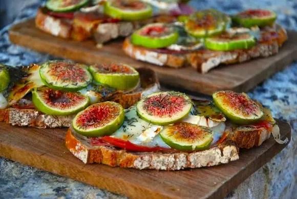 tartines figues chevre jambon