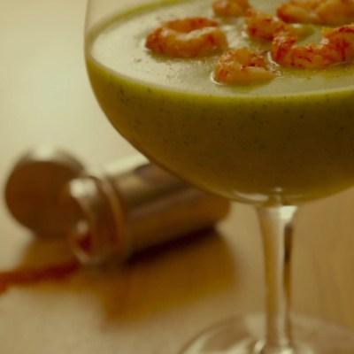 Soupe de courgettes froide curry, lait de coco, écrevisses