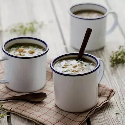 Soupe champignons-orge-épinards