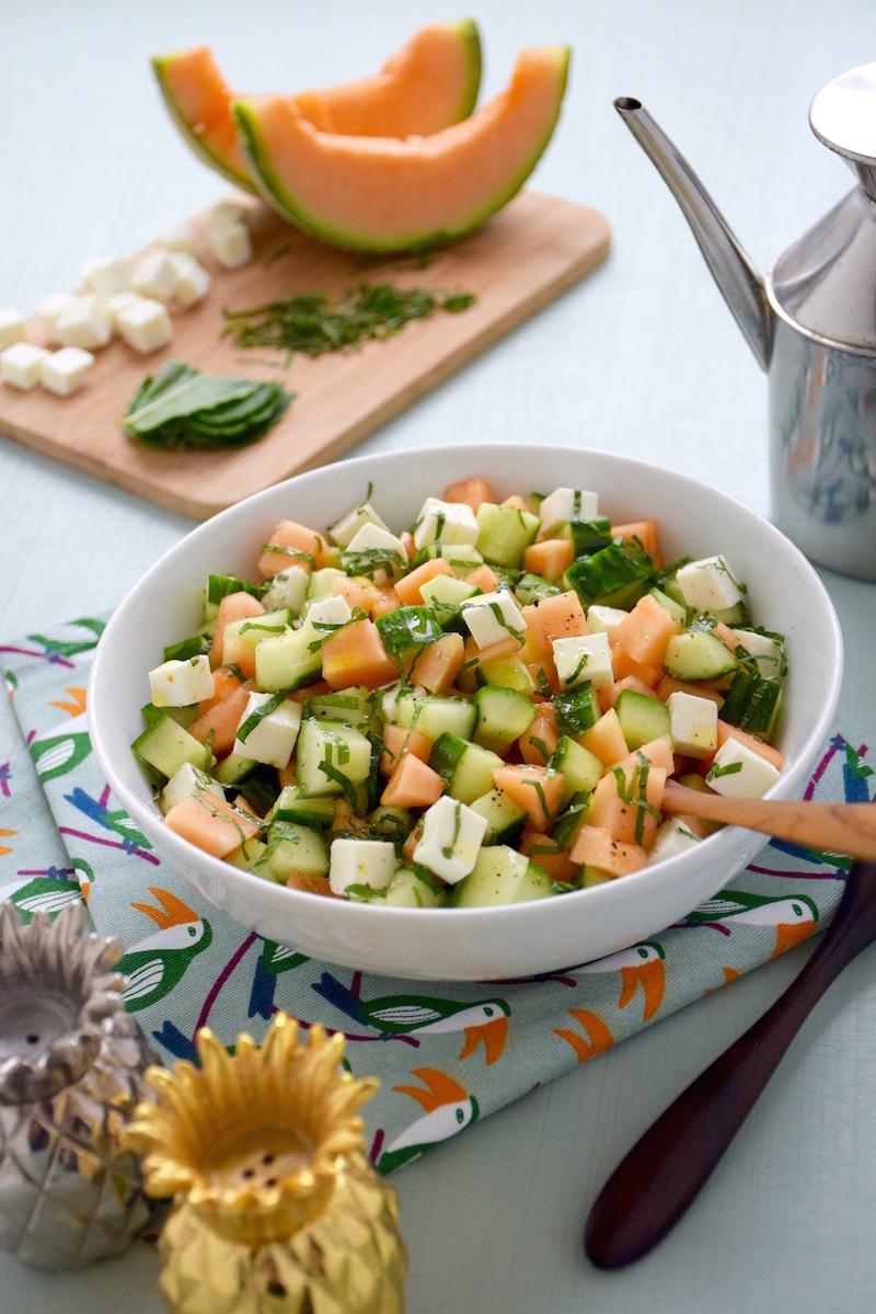 Salade melon-concombre-fêta