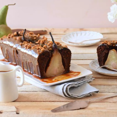 Chocolate and whole pear cake