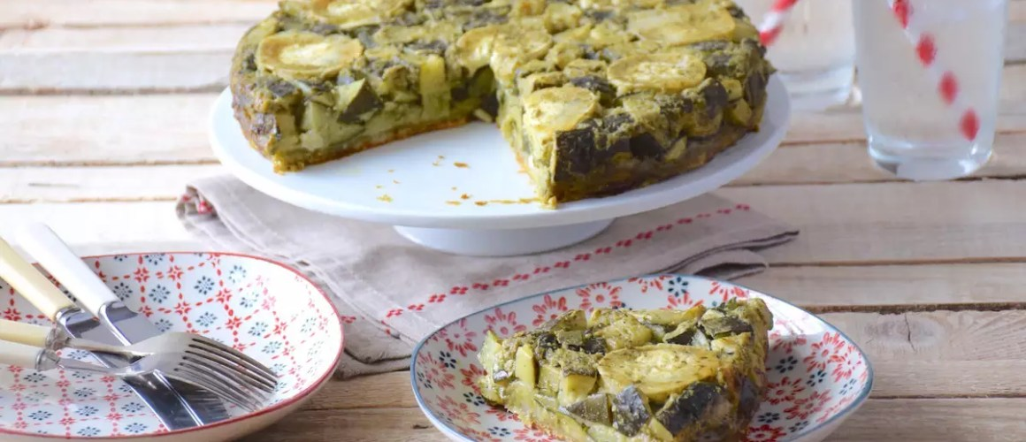Zucchini, goats cheese & pesto tarte tatin