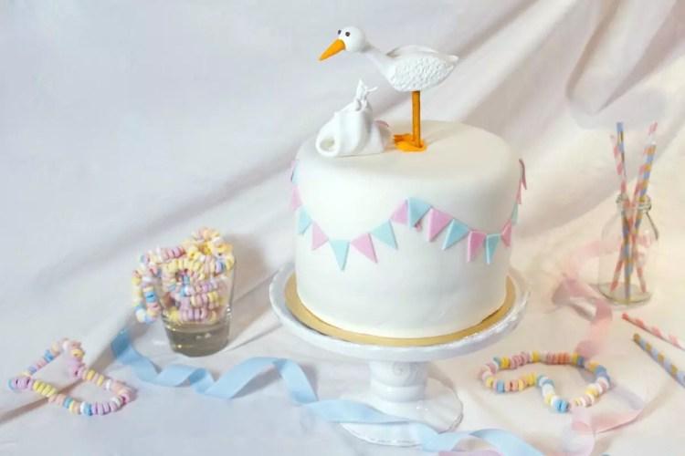 Gâteau Gender Reveal cigogne