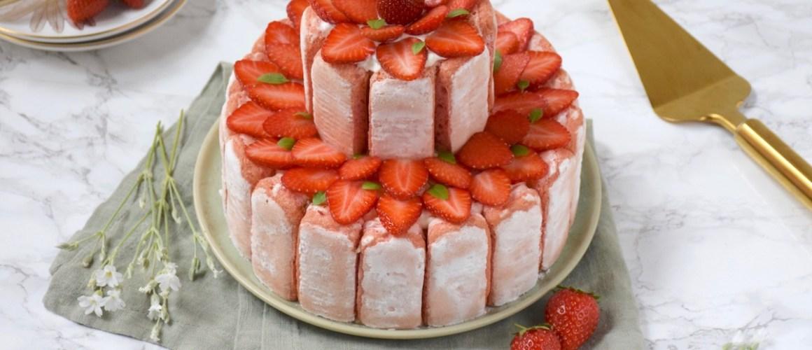 Fête des Mères – Charlotte glacée rhubarbe, yaourt, fraise