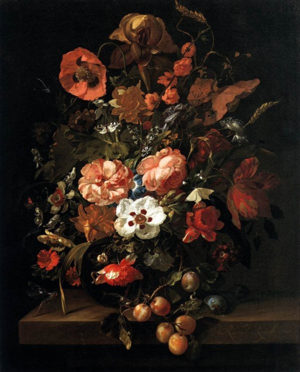 """Still Life with Flowers and Fruit"" by Rachel Ruysch"
