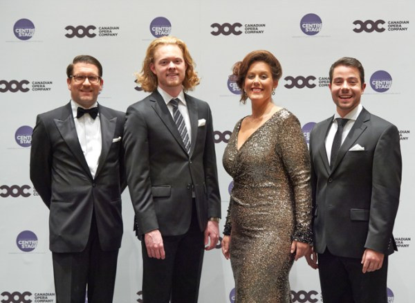 Alexander Neef with vocal competition winners Iain MacNeil, Karine Boucher, Jean Philippe Fortier-Lazure
