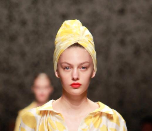 Missoni ss15 yellow scarf worn as a turban
