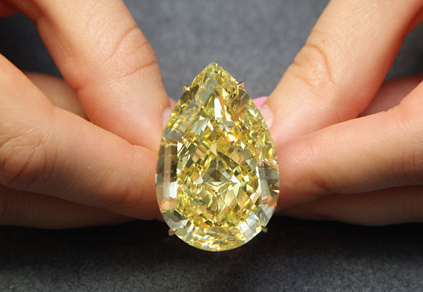 largest yellow diamond ever to be auctioned