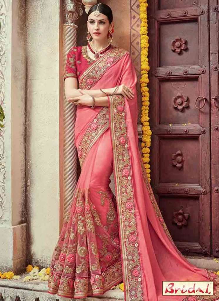 Pink Embroidered Designer Saree For Wedding FashionEven