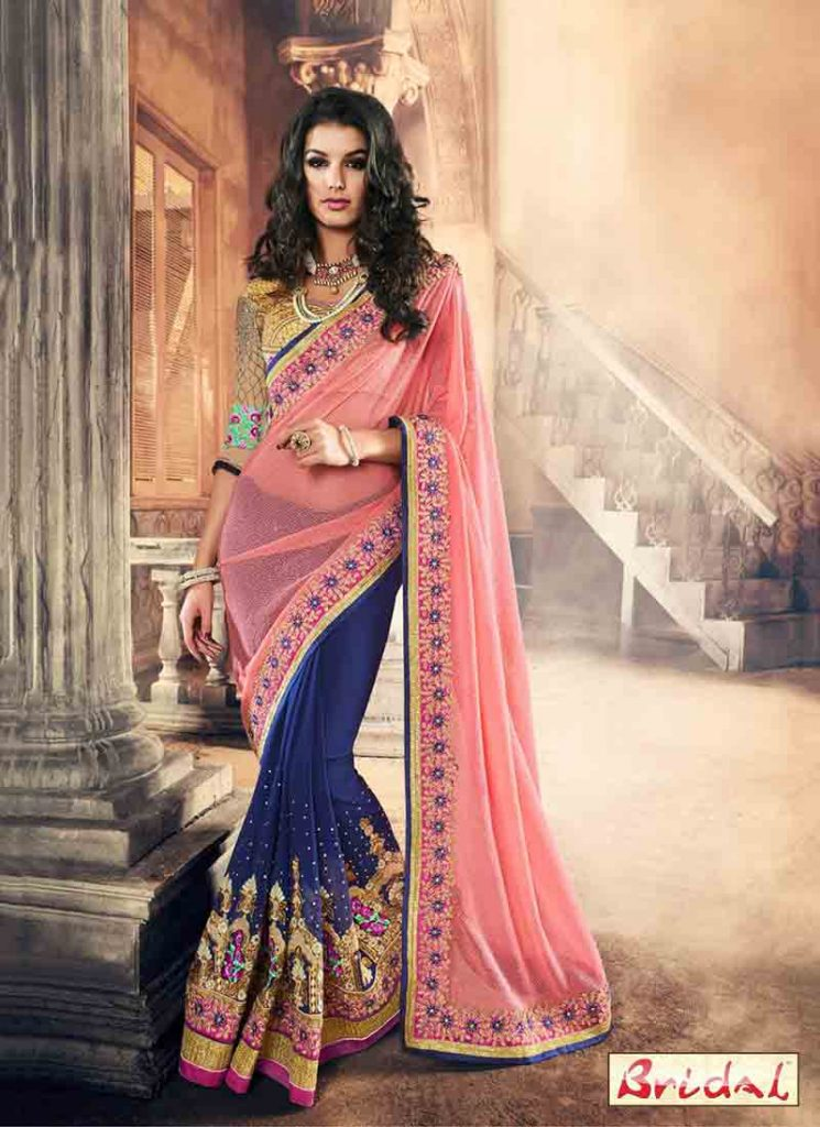 Pink And Blue Saree Designs For Wedding In 2018 FashionEven