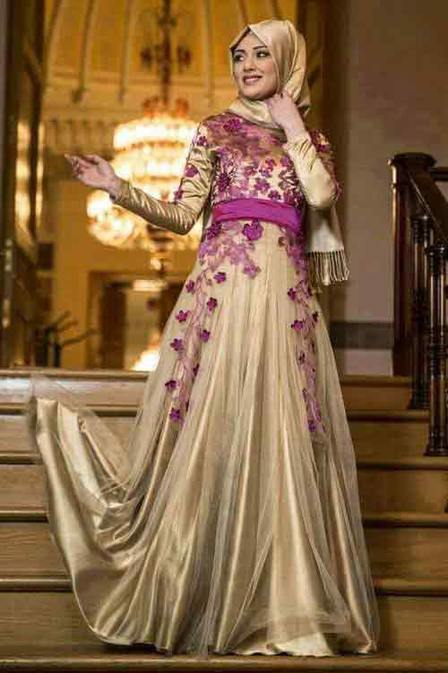 Golden and purple formal party wear abaya with hijab styles for girls