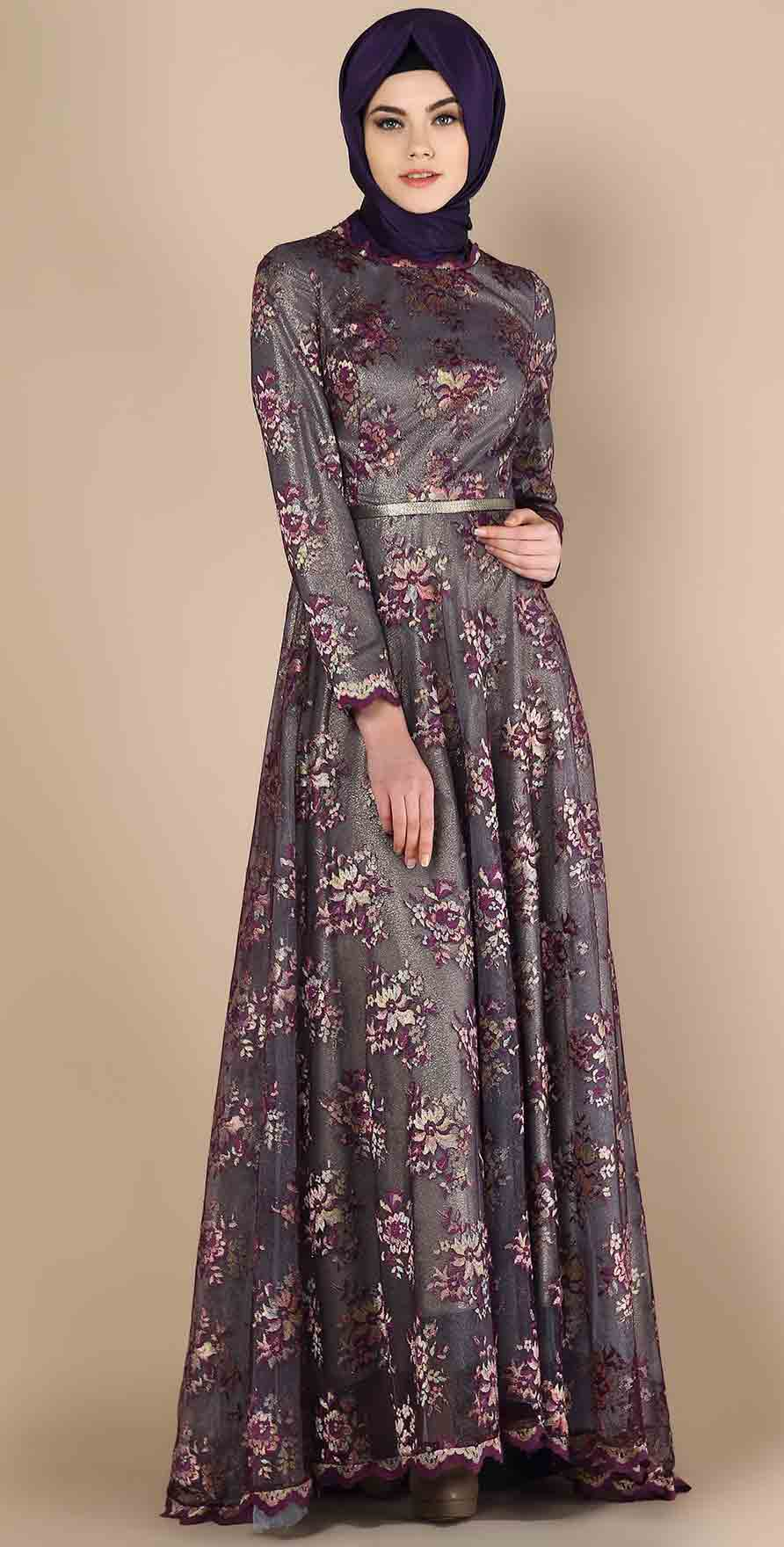Grey velvet formal party wear abaya with hijab styles for girls