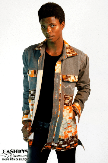 Zionland Jeans Jacket With Kente Print