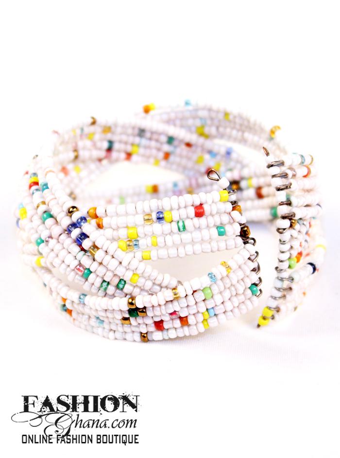Beaded & Layered Open Cuff Bracelet