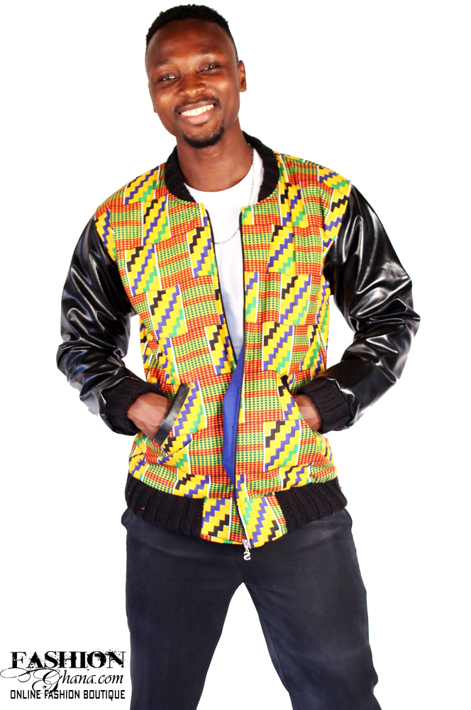 African Print (Kente) & Leather Bomber Jackets
