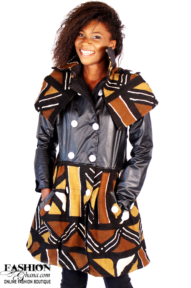 Mud Cloth Caped Shoulder Jacket