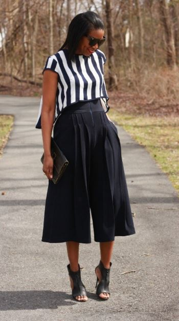 Rocking this cute culottes, stripes, bag and pumps is another stylish way