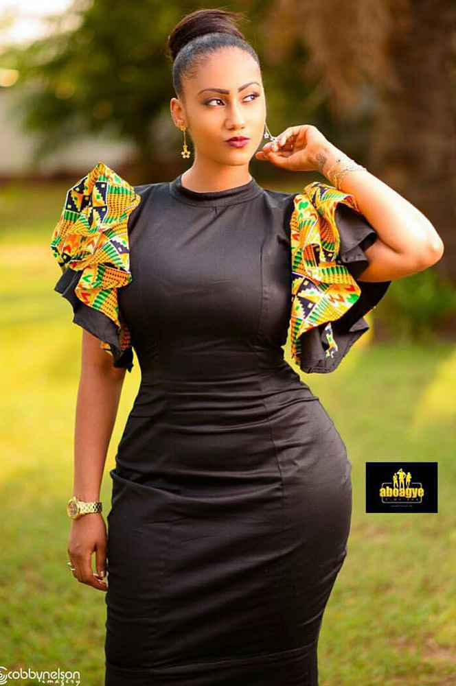 Multi-Tiered Ruffled Kente Sleeves Pencil Dress