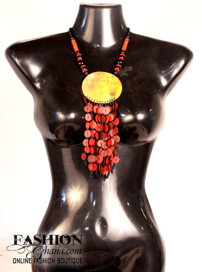 Cow Horn Pendant Necklace With Cofi Fringe