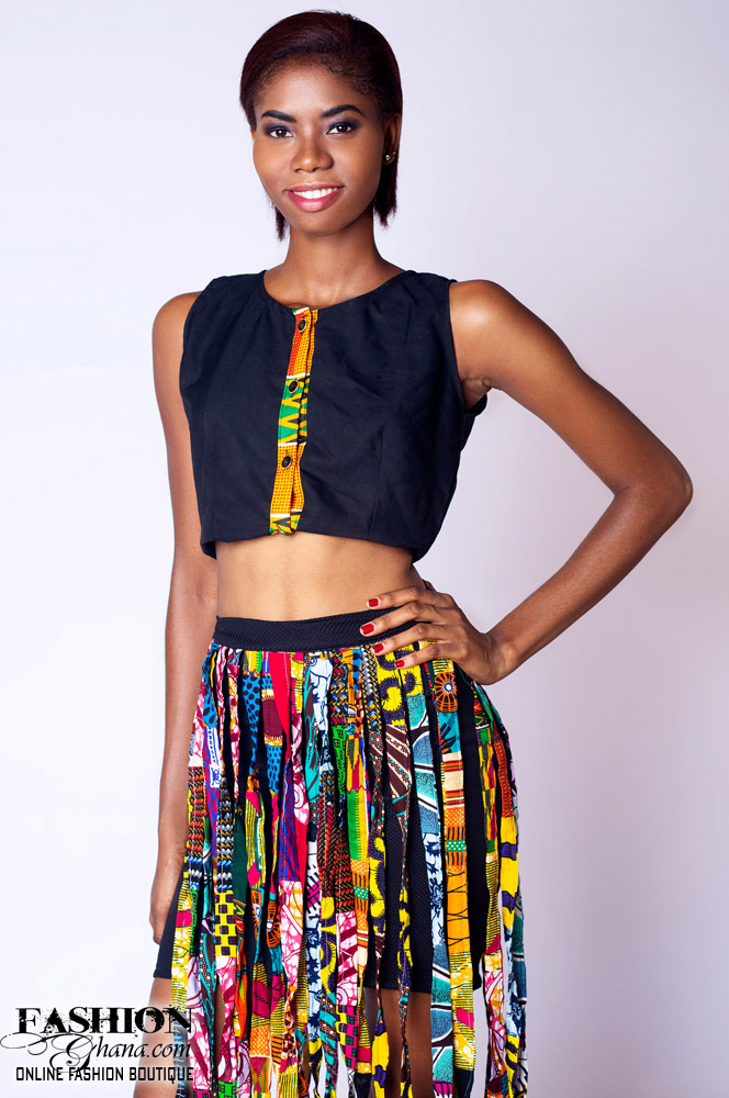 Pique Mini Skirt With Asasa Print Fringe
