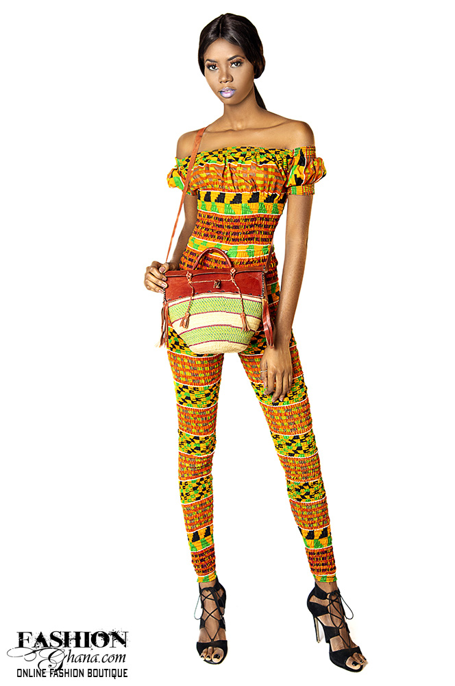 African Print Kente Off Shoulder Jumpsuit