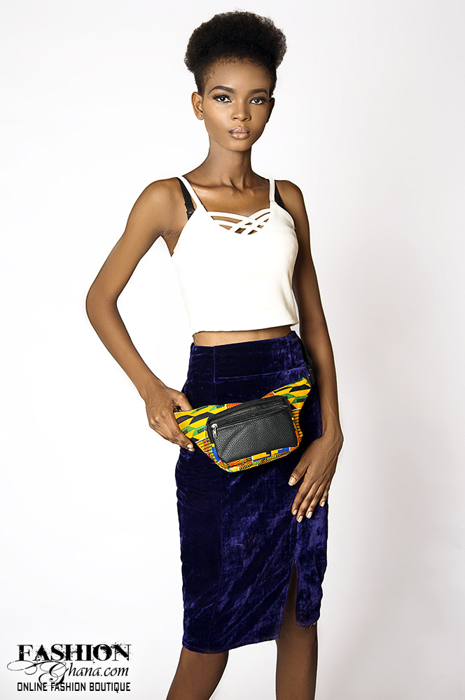 African Print And Leather Waist Bag